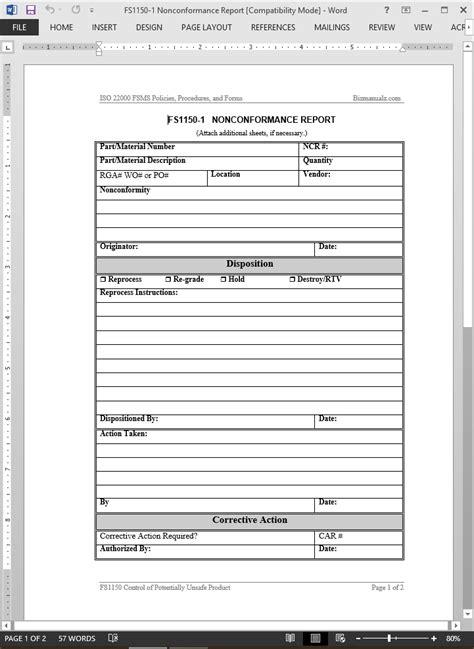 FSMS Nonconformance Report Template