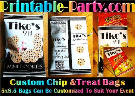 printable custom party favor bags custom chip bags