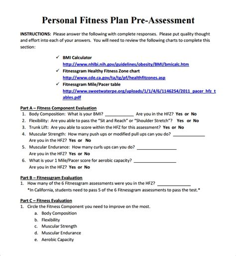 sample fitness plan templates   ms word