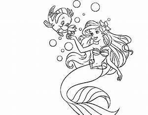 Ariel Flounder Coloring Pages images
