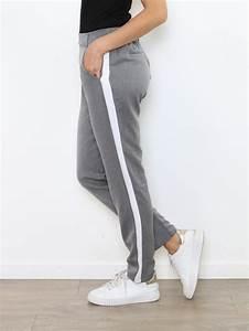 Pantalon Avec Bande Sur Le Coté : pantalon chino femme fluide gris clair avec bande blanche ~ Melissatoandfro.com Idées de Décoration