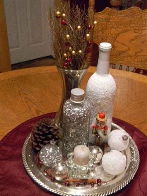 silver tray christmas table centerpiece  pinterest