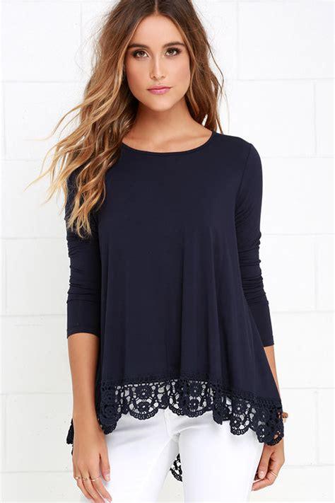 cute navy blue top long sleeve top crochet top