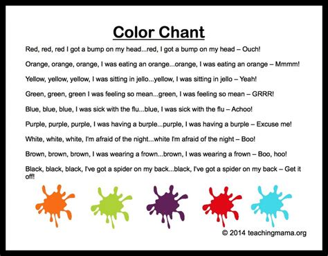 10 preschool songs about colors 395 | Color Chant 1024x800