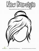 Coloring Worksheet Bun Messy Hairstyle Education Worksheets Cool Fun sketch template