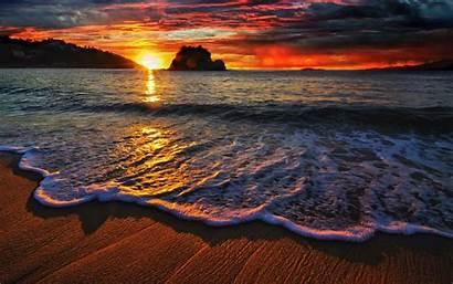 Beach Sunset Desktop Waves Wallpapers Definition Ocean
