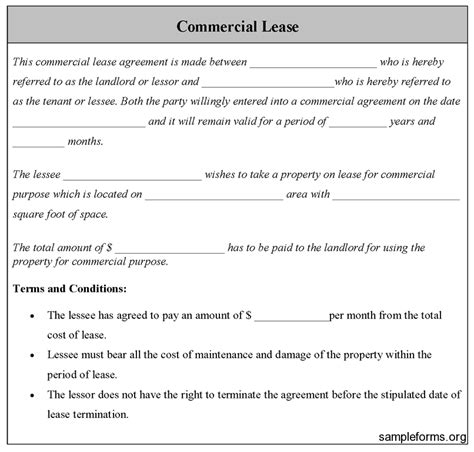 commercial lease agreement sample  printable documents