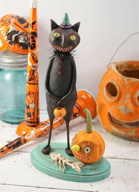 halloween folk art black cat vintage style halloween decoration pumpkin primitive
