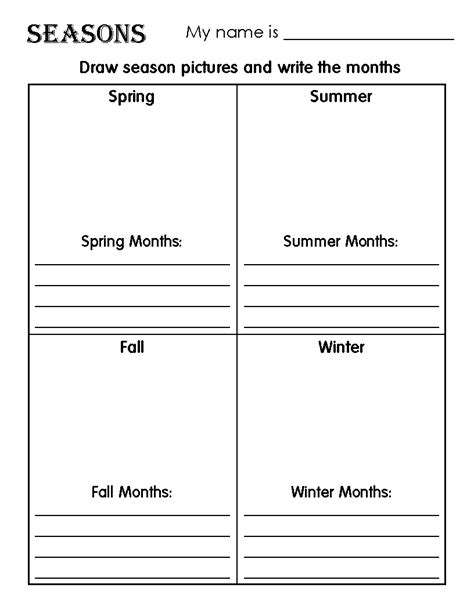seasons worksheets for kindergarten free free four