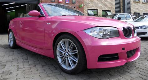 pink convertible cars pink bmw 1 series convertible cruising streets of sa