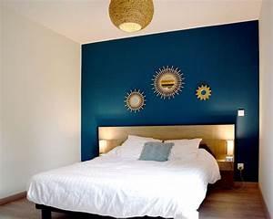 Déco Chambre Bleu Canard : chambre bleu canard blanc bois boho miroir soleil bois ~ Melissatoandfro.com Idées de Décoration