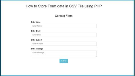 how to store form data in csv file using php