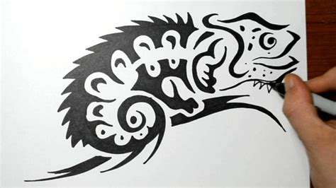 How To Draw A Chameleon Lizard  Tribal Tattoo Design