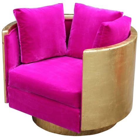 ultra glam modern gold leaf and pink velvet swivel