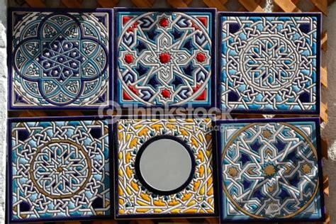 decorative painted ceramic tiles for sale stock photo