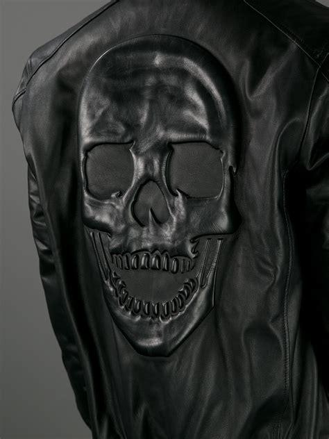 lyst philipp plein skull texture jacket  black  men