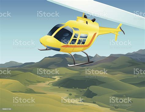Cartoon Helicopter Flying Over Valley Landscape Stock
