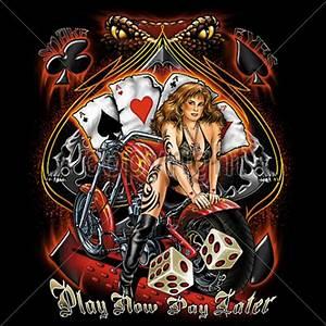 Biker T Shirt Tattoo Bikini Babe Flames Motorcycle Graphic ...