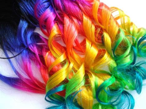 Hair Extensions Dip Dyed Off Blackneon Rainbow