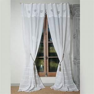 Rideau En Lin Blanc : rideau ateliers du lac lin coeur blanc ~ Melissatoandfro.com Idées de Décoration