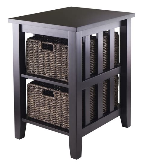 accent table with baskets morris side indoor wooden furniture table storage with 2