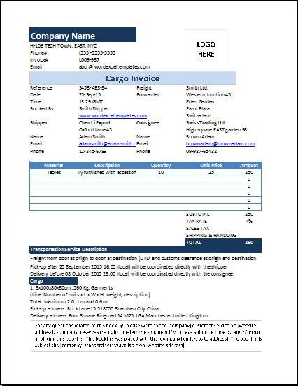 ms excel cargo invoice template word excel templates