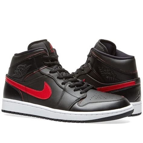 Nike Air Jordan 1 Mid Black Team Red And White End