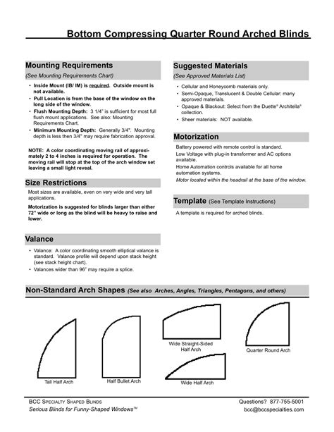 BCC Specialties :: Quarter Arch Blind Specifications