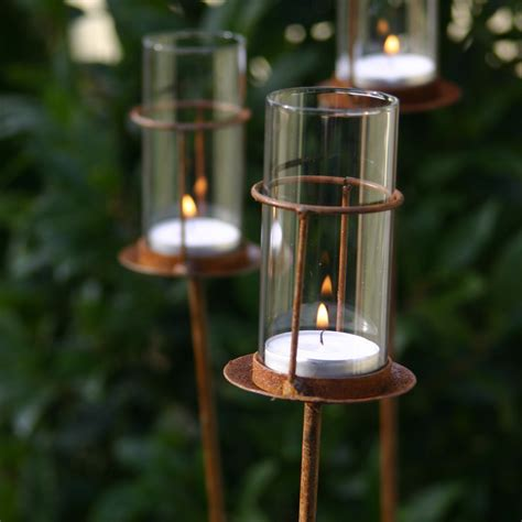 Garden Candle Lanterns by Set Of Three Tea Light Stakes Puddy Garden And