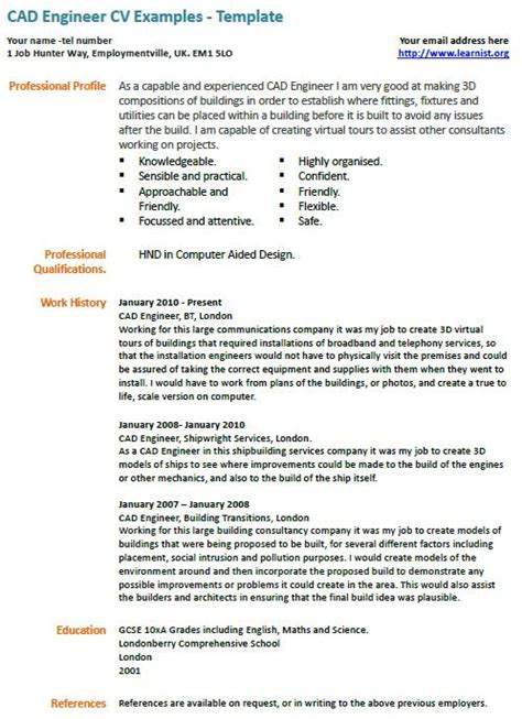cad engineer cv exle learnist org