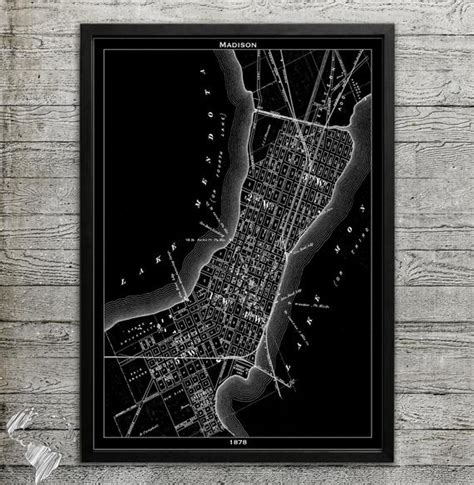 map  madison wi print wall decor   home  office
