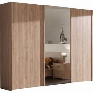 armoire chambre porte coulissante avec miroir bois design With porte de chambre design
