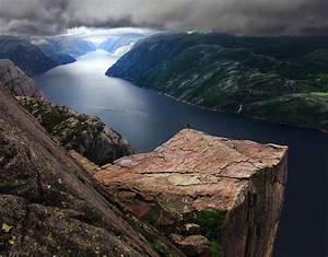 River, Clouds, Mountains, Rocks, Landscape, Norway, Pulpit