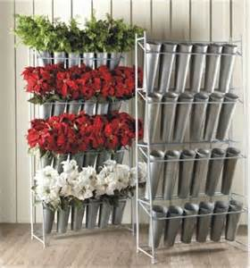 cake stand rental metal silk flower display rack with 24 galvanized buckets