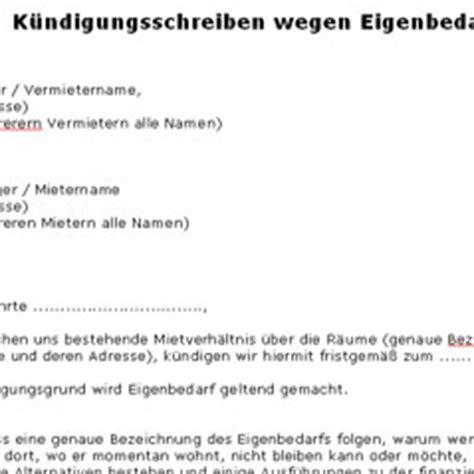kuendigungsschreiben wegen eigenbedarf deutsche