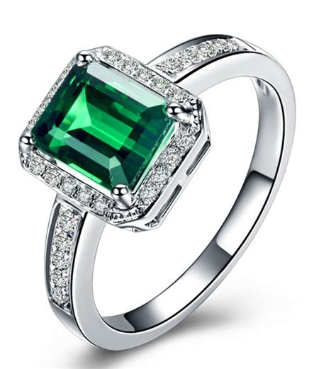 classic 1 50 carat emerald and diamond engagement ring in white gold jeenjewels