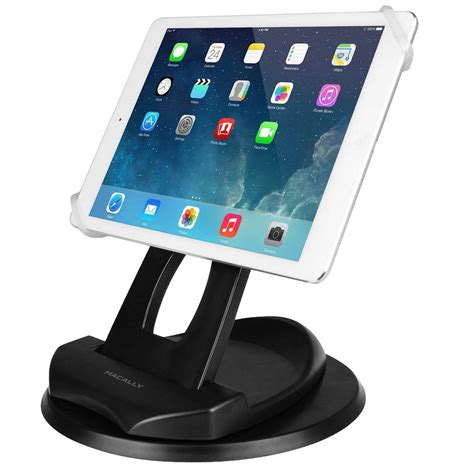 tablet stand for desk macally 2 in 1 swivel desk stand and hand strap holder for