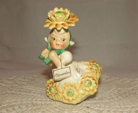 vintage napco flower   month birthday girl