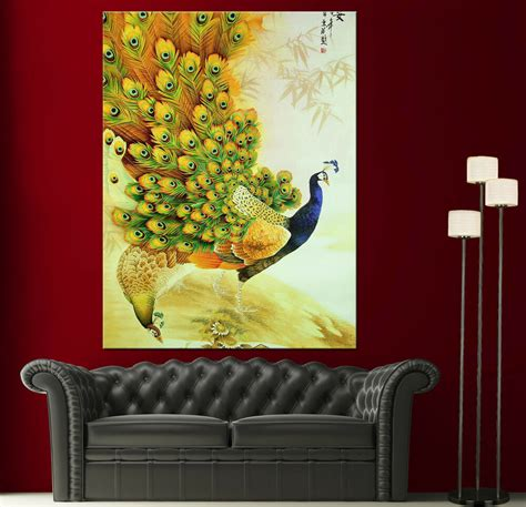 paintings for home decor japanese peacock painting canvas print wall photo