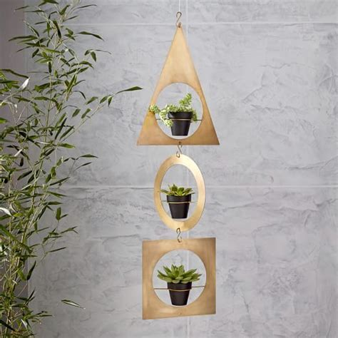 Geometric Metal Hanging Planter   west elm
