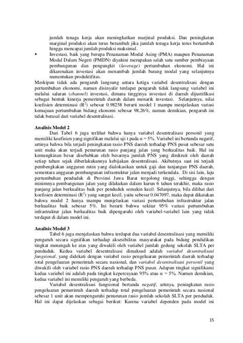 Kajian Pengaruh Kebijakan Desentralisasi Pada Peningkatan