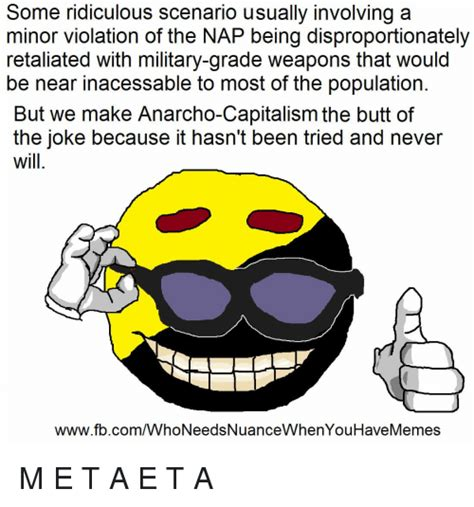 Anarcho Capitalism Memes - some ridiculous scenario usually involving a minor violation of the nap being disproportionately
