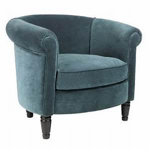 Fauteuil Crapaud Bleu Canard : fauteuil cabriolet tissu velours vert corole comptoir de ~ Teatrodelosmanantiales.com Idées de Décoration