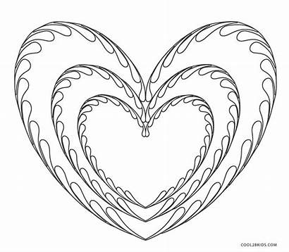 Coloring Hearts Heart Pages Printable Colouring Cool2bkids