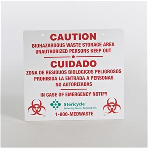 caution sign  biohazardous waste stericycle