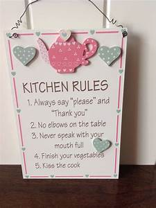 New kitchen rules wooden wall plaque hanging sign teapot