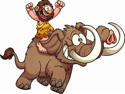 Caveman Mammoth Riding Vector Clip Clipart Illustration
