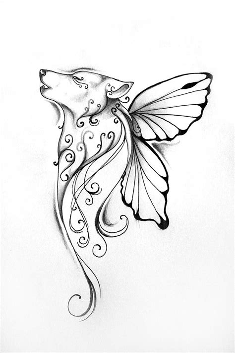 Butterfly wolf tattoo - love this! | Tattoos | Pinterest | Wings, Angel and The butterfly