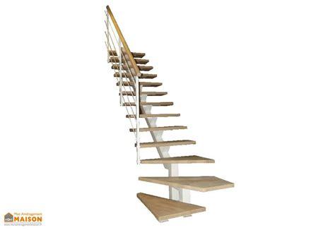 escalier quart tournant bas limon central m 233 tal et bois 280 cm montana levigne