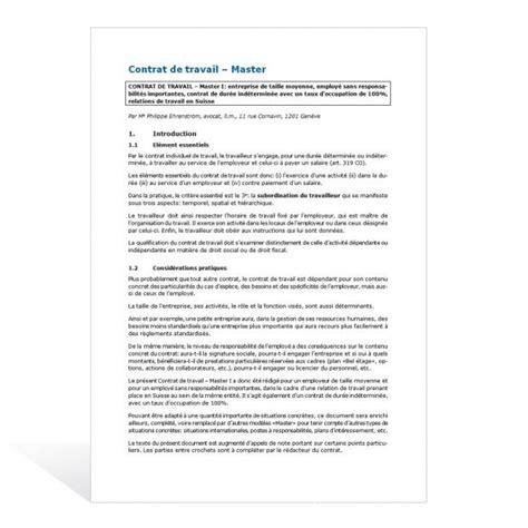 contrat de travail cadre dirigeant contrat de travail master